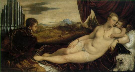 Venus and Cupid with an Organist c. 1548-49 by Titian aka Tiziano Vecellio